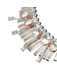 River Island - Metallic Silver Tone Shell Big Necklace - Lyst