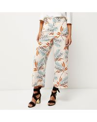 River Island White Pink Rose Print Cropped Trousers