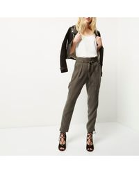 River Island Brown Khaki Soft Tie Waist Tapered Trousers