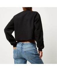 River Island - Black Print Cropped Sweatshirt - Lyst