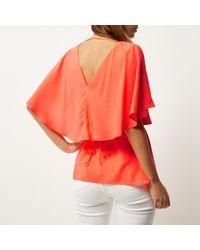 River Island - Orange Coral Cape Back V-neck T-shirt - Lyst