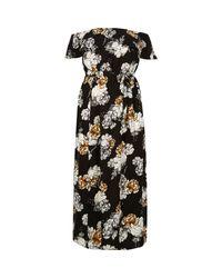 River Island Black Floral Print Bardot Maxi Dress
