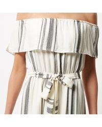 River Island White Stripe Bardot Maxi Dress