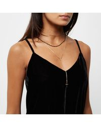 River Island - Metallic Gold Tone Cross Layer Necklace - Lyst