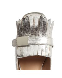 River Island Gray Silver Tassel Heeled Loafers