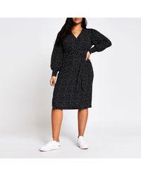 River Island Plus Black Polka Dot Wrap Midi Dress