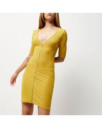 River Island | Dark Yellow Zip Through Bodycon Dress | Lyst