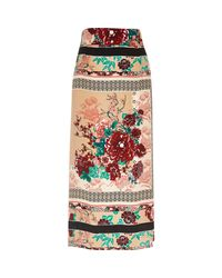 River Island - Pink Oriental Print Midi Skirt - Lyst
