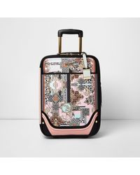 River Island Pink Scarf Print Suitcase
