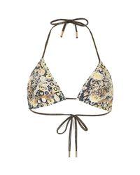 River Island   Yellow Floral Embellished String Bikini Top   Lyst