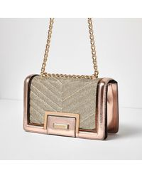 River Island Yellow Rose Gold Quilted Panel Chain Shoulder Bag