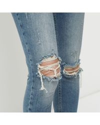 River Island Blue Wash Alannah Ripped Relaxed Skinny Jeans