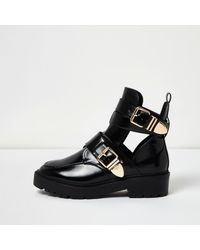 River island Black Patent Wide Fit Cut-out Buckle Boots in Black ...