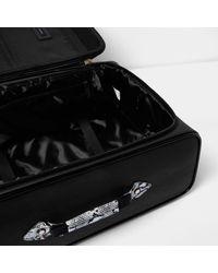 River Island Black Snake Print Wheelie Suitcase