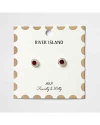 River Island | Red July Birthstone Stud Earrings | Lyst