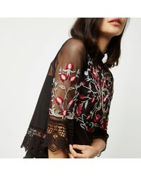 River Island Black Floral Print Double Layer Mesh Top