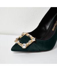 River Island Dark Green Satin Buckle Court Shoes