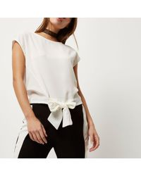 River Island Natural Cream Tie Front Top