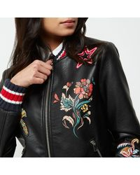 River Island - Black Faux Leather Embroidered Bomber Jacket - Lyst