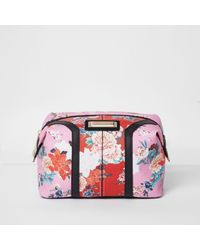 552179a33d Lyst - River Island Pink And Red Floral Print Make-up Bag in Pink