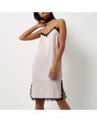 River Island Multicolor Pink Metallic Lace Trim Midi Slip Dress