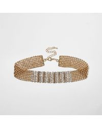 River Island | Metallic Gold Tone Diamante Encrusted Choker Necklace | Lyst