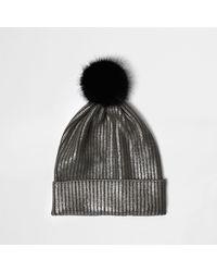 River Island Silver Metallic Knit Bobble Hat