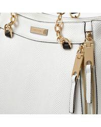 River Island - White Chain Handle Zip Tote Bag - Lyst