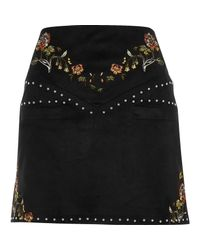 River Island Black Embroidered Floral And Stud Mini Skirt
