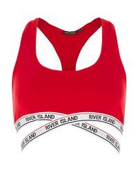River Island - Red Marl Sporty Crop Top Bra - Lyst