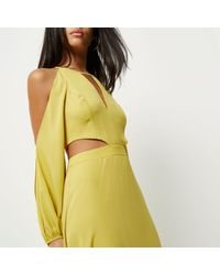 River Island Green Lime Cold Shoulder Maxi Dress
