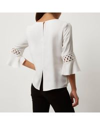 River Island White Cord Insert Bell Sleeve Top