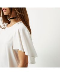 River Island White Cape Sleeve Top