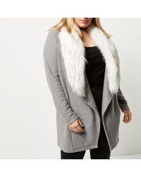 River Island Gray Plus Grey Faux Fur Collar Cardigan Jacket