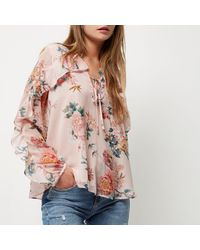 River Island Pink Floral Print Frill Sleeve Blouse