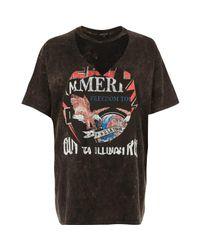 River Island | Brown Print Choker Neck Band Print T-shirt | Lyst