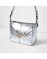 River Island | Silver Metallic Leather Chain Shoulder Bag | Lyst