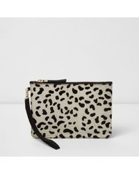 River Island | Multicolor Cream Leopard Print Pony Skin Clutch Bag | Lyst