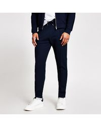 River Island Blue Textured joggers for men