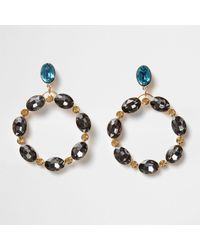 River Island - Metallic Gold Tone And Topaz Oval Gem Hoop Earrings Gold Tone And Topaz Oval Gem Hoop Earrings - Lyst