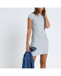 River Island Gray Cap Sleeve Ribbed Fitted Dress