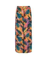 River Island | Orange Tropical Split Front Maxi Beach Skirt | Lyst