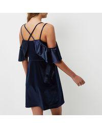 River Island - Blue Navy Satin Frill Cold Shoulder Dress - Lyst