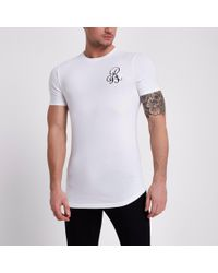 79f39b49 River Island Muscle Fit 'r95' T-shirt in White for Men - Lyst