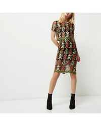 River Island Black Double Layer Embroidered Mesh Dress
