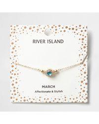 River Island - Blue Gem March Birthstone Bracelet - Lyst