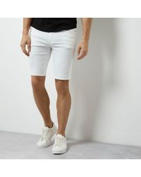 River Island White Distressed Skinny Fit Denim Shorts for men