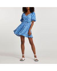 River Island Blue Belted Mini Floral Wrap Dress