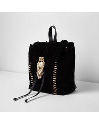 River Island - Black Suede Fringe Drawstring Backpack - Lyst