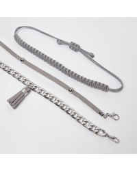 River Island - Metallic Silver Tone Tassel Bracelet Pack - Lyst